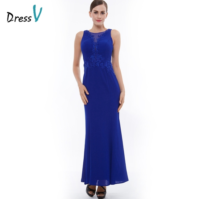 959130f19d81 Dressv scuro royal blue fodero lungo abito da sera scollo zipper up colonna  appliques il vestito