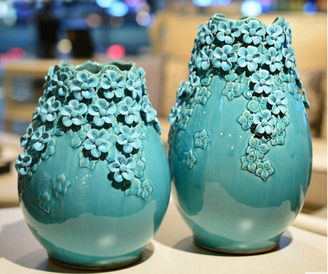 Handmade vase ornaments upscale European-style living room home decoration crafts ceramic simple floral arts