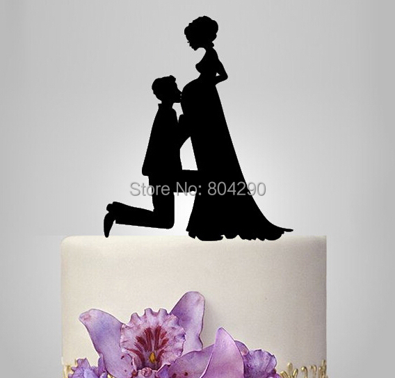 Free Shipping Pregnant Bride And Groom Silhouette Wedding Acrylic Cake Topper