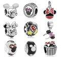 Encantos Fit Pandora Original Pulsera Plateado Lindo Minnie Mickey Grano Del Encanto DIY Accesorios de La Joyería