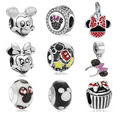 Fit Original Pandora Charms Bracelet Silver Plated Cute Minnie Mickey Charm Bead DIY Jewelry Making Accessories