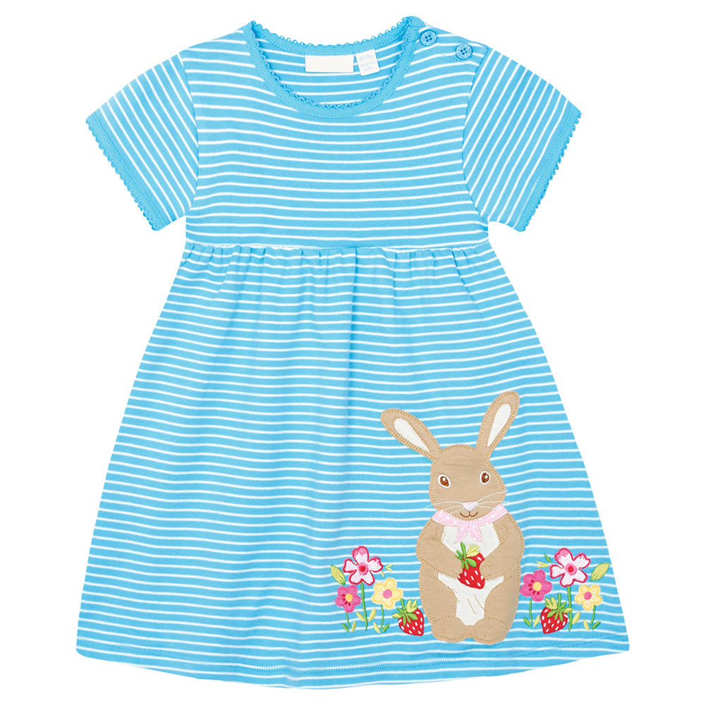Little Maven Brand New Girls Summer Short O-neck Fashion Lovely Blue Striped Rabbit Quality Cotton Cute Casual Knitted  Dresses little maven 2017 new summer baby girls floral print dress brand clothes kids cotton duck rabbit printing dresses s0136