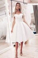 Атласное платье для выпускного вечера белое с открытыми плечами А силуэт короткий наряд для выпускного вечера для женщин формальное платье
