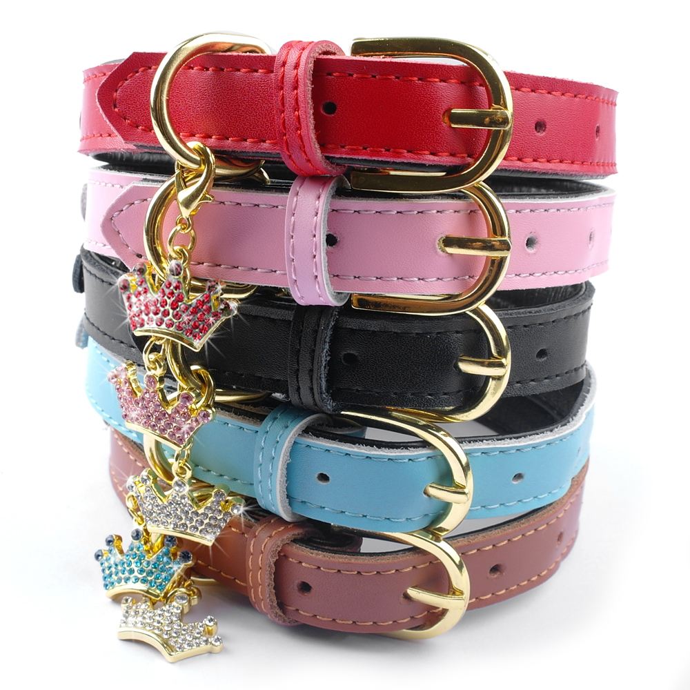 Soft Padded Leather Dog Collar Adjustbale Small Puppy Dog Cat Chihuahuahua Collars With Crown Pendant Accessories Pink XS S M