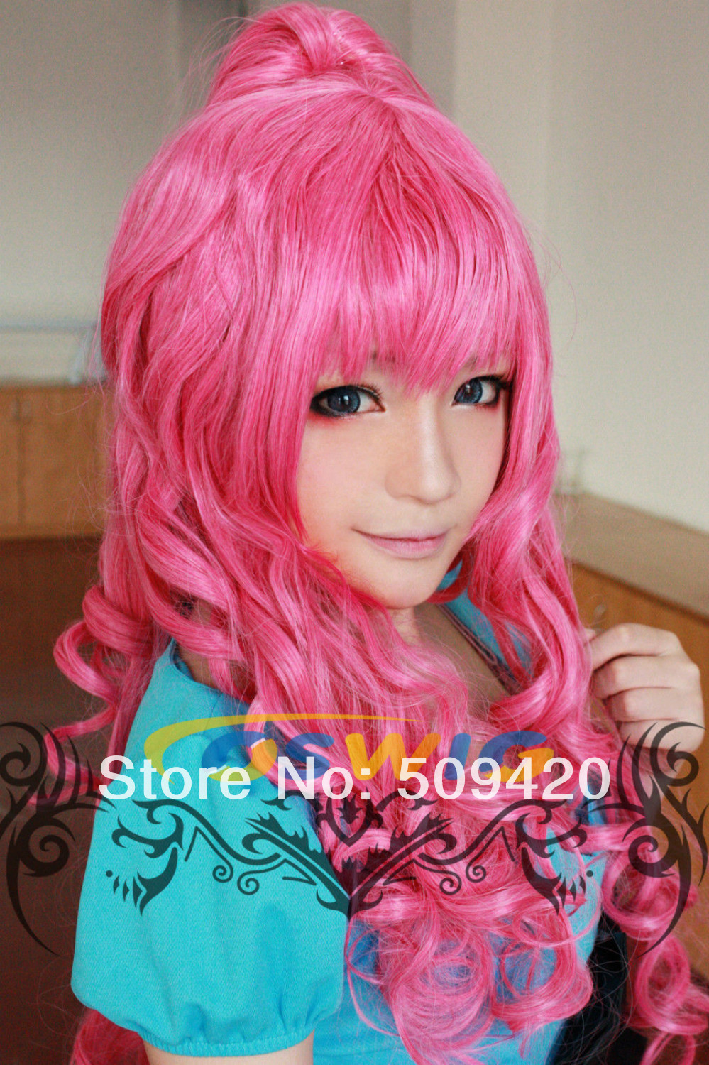FREE SHIPPING>****^^ newD@DNEW Women's Girls Megurine COSPLAY Wig Long Curly Wig Red Full Wig AS
