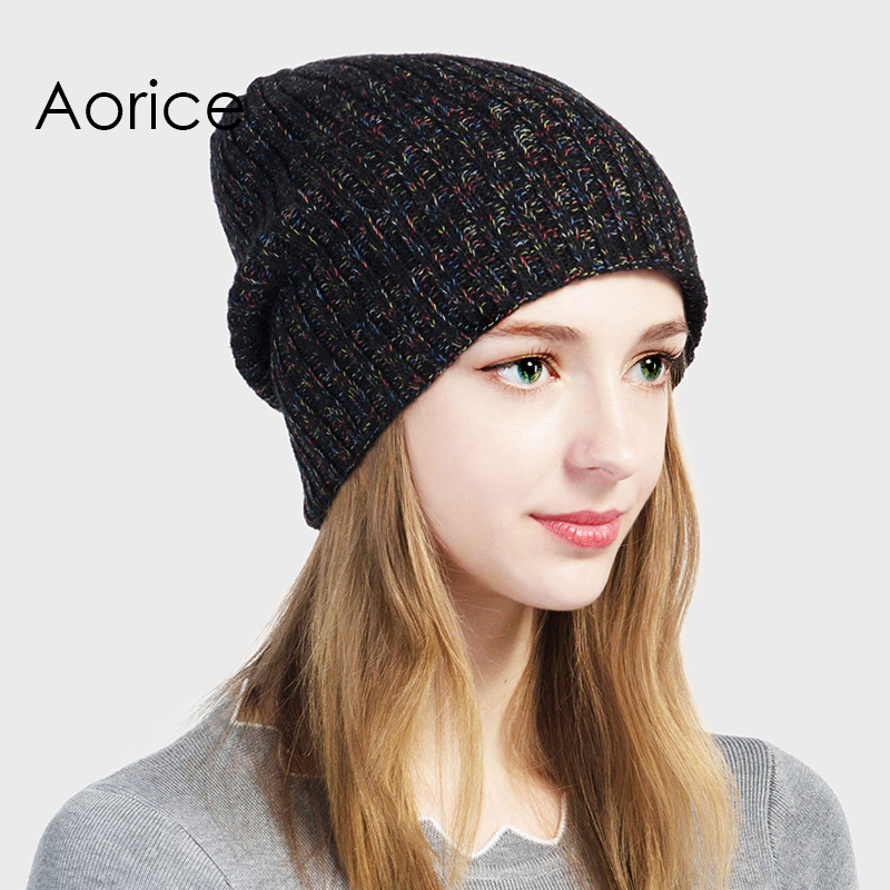 Aorice Autumn Winter Brand Hat Multicolor Knitting Beanies High Quality Warm Vogue Women's Cap Pompom Female Causal Hats HK713