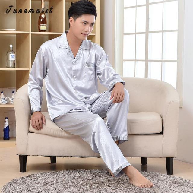 Venda quente de verão Dos Homens pijamas De Seda Rayon Fleece Sleepwear desligar colarinho manga longa com um bolso Conjuntos de Pijama Roupa de Dormir