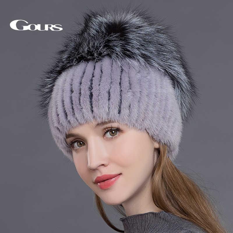 7d35f87f13f24 ... Gours натурального меха норки Шапки для Для женщин Настоящее Silver Fox  меховые шапки русской зимы теплые