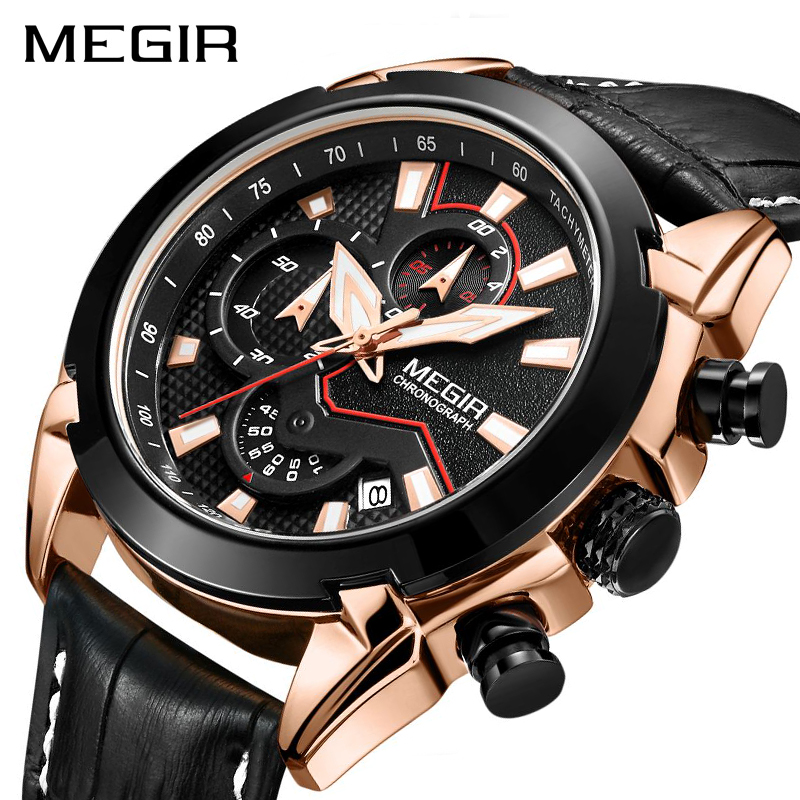 MEGIR Creative Quartz Men Watch Leather Chronograph Army Military Sport Watches Men Clock Hour Relogio Masculino Reloj Hombre