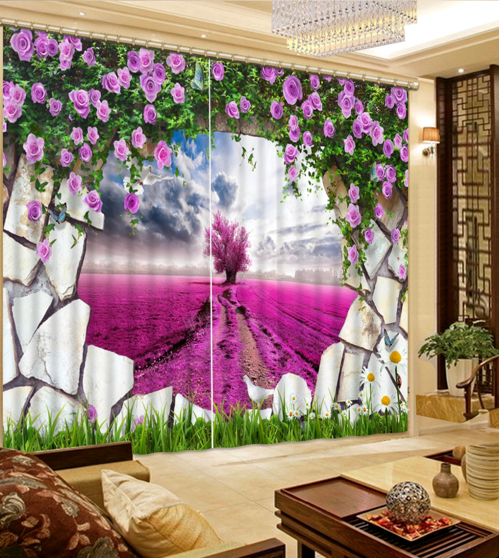 3d curtains window curtain living room purple flower brick  fashion decor home decoration for bedroom living room curtain3d curtains window curtain living room purple flower brick  fashion decor home decoration for bedroom living room curtain