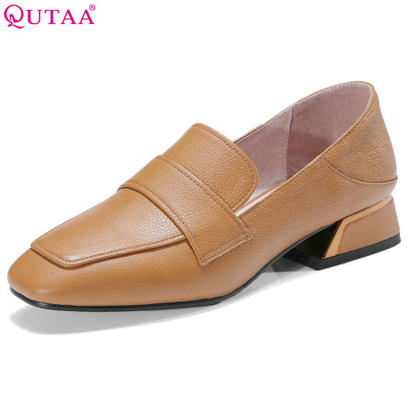 QUTAA 2018 Women Pumps Square Low Heel Genuine Leather Slip On Western Style Black Spring/ Autumn Ladies Casual Pumps Size 34-42 esveva 2017 flock square toe women pumps concise black slip on shoes women spring autumn square low heel women pumps size 34 39