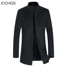 EICHOS New Men Wool Coat Solid Fashion Zipper Woolen Mens Jacket Business&Casual Stand Collar Soft Wool Peacoat Men NZY1886(China)
