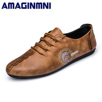 AMAGINMNI New Comfortable Casual Shoes Loafers Men Shoes Hot Sale Moccasins Shoes Fashionable Breathable Brand Driving