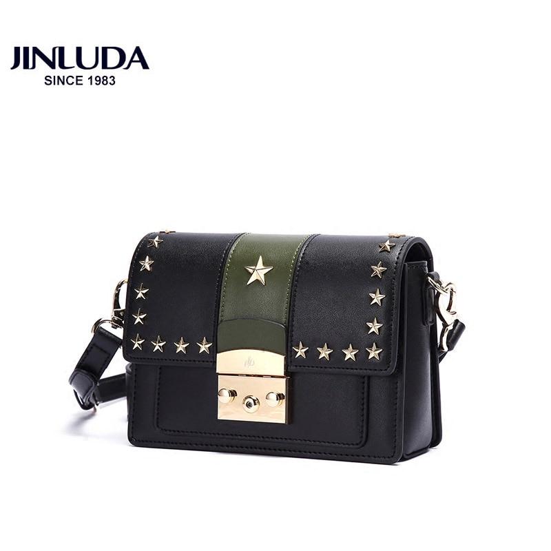 все цены на JINLUDA Genuine Leather Crossbody Bags Fashion Handbag Retro Small Square Bag Star Rivet Decorative Shoulder Messenger Bags онлайн