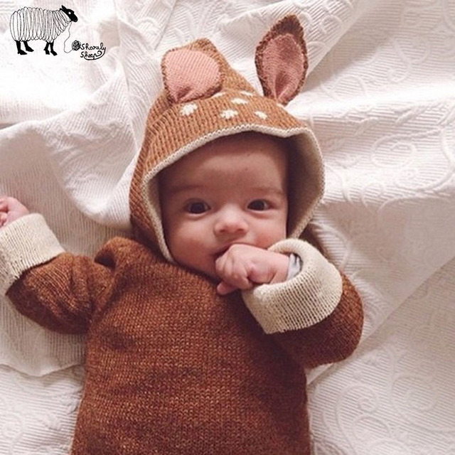 Girls Boys Cute Cartoon Rabbit Winter Long Sleeve Pullover Sweater Clothes Kids Infant Girl Children Knit Hooded Sweaters Tops