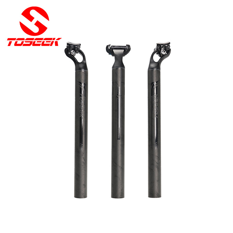 New TOSEEK bicycle seatpost road mountain bike seatpost MTB offset seat post carbon fiber +aluminum alloy 7075 27.2/31.6mm no logo bicycle seat posts carbon road mtb 3k gloss matte offset seat post 25 4 27 2 30 8 31 6 ultra light bicycle seatpost
