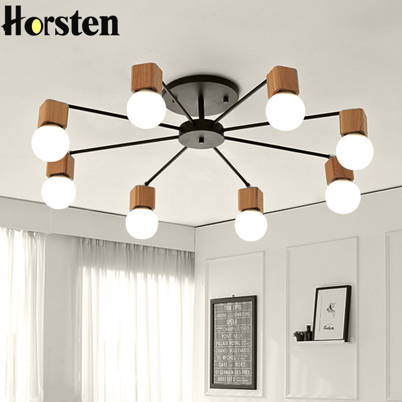 цены Horsten Modern Art Iron Wooden Pendant Lights 110V 220V Wood Pendant Lamps Bedroom Living Room Fixtures Indoor Pendant Lamp