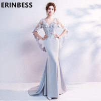 Sexy Silver Appliques Evening Dresses Mermaid V Neck Half Sleeeve Sweep Train Long Floor Length Formal Party Gown For Women