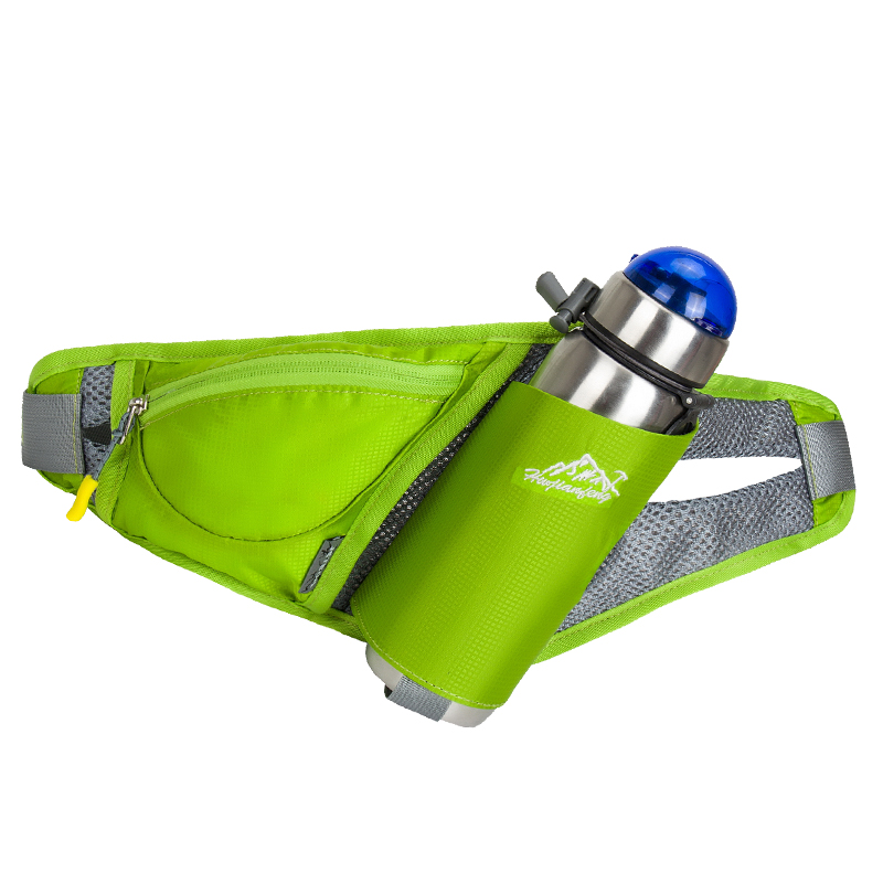 रंगीन कमर बेल्ट पैक कमर बैग पानी की बोतल धारक के साथ स्मार्टफ़ोन कुंजी पैसे के लिए