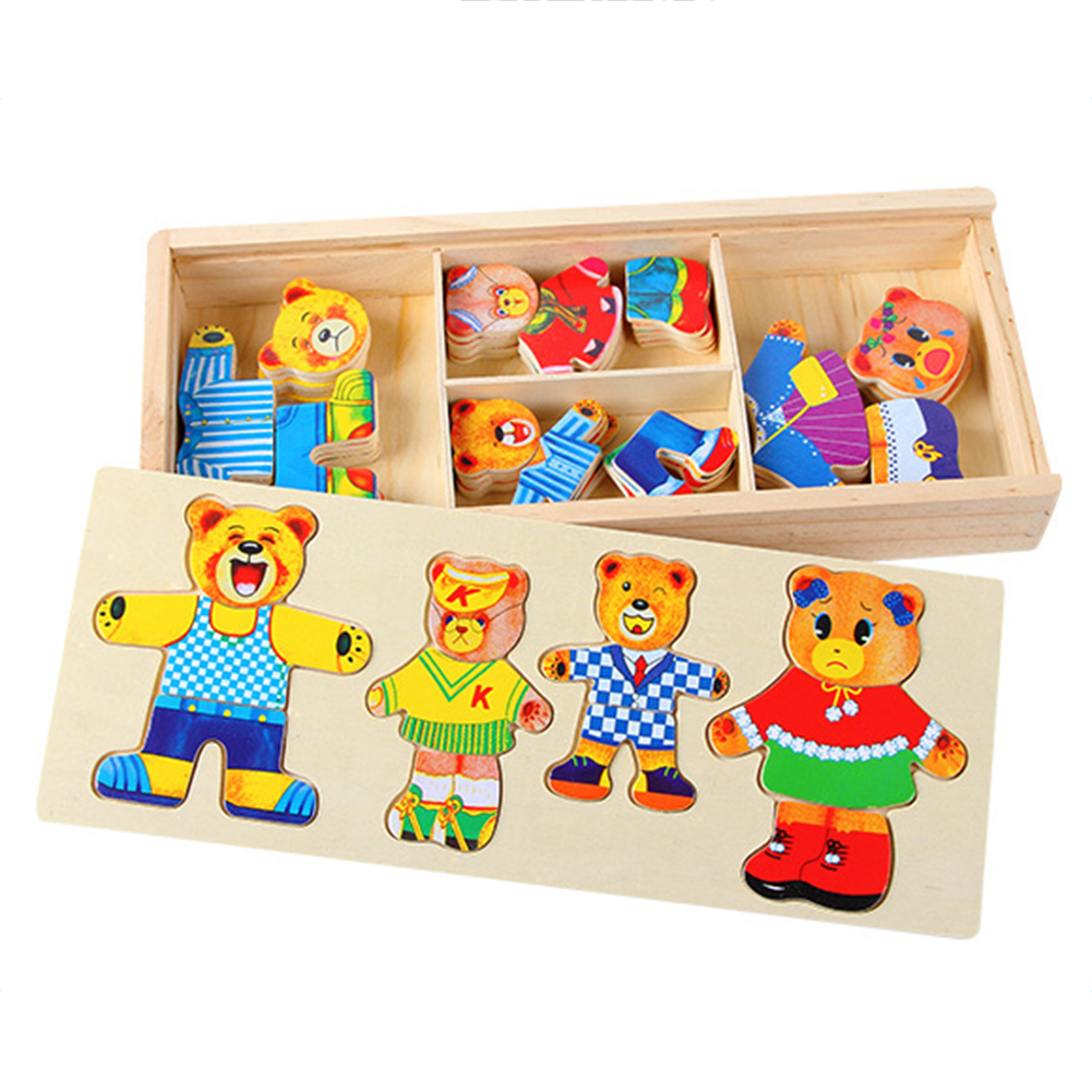 Wooden Toys For Boys : Cartoon bear change clothes puzzle toys wooden