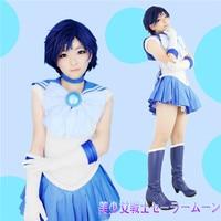 Japan Anime Sailor Moon Crystal Mizuno Ami Cosplay Costume Unisex Custom Made Full Set Free Shippimg