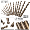 15PCS 1 5 10mm Twist Drill Bits Set M35 Cobalt HSS Straight Shank Ferramentas Metal Drilling