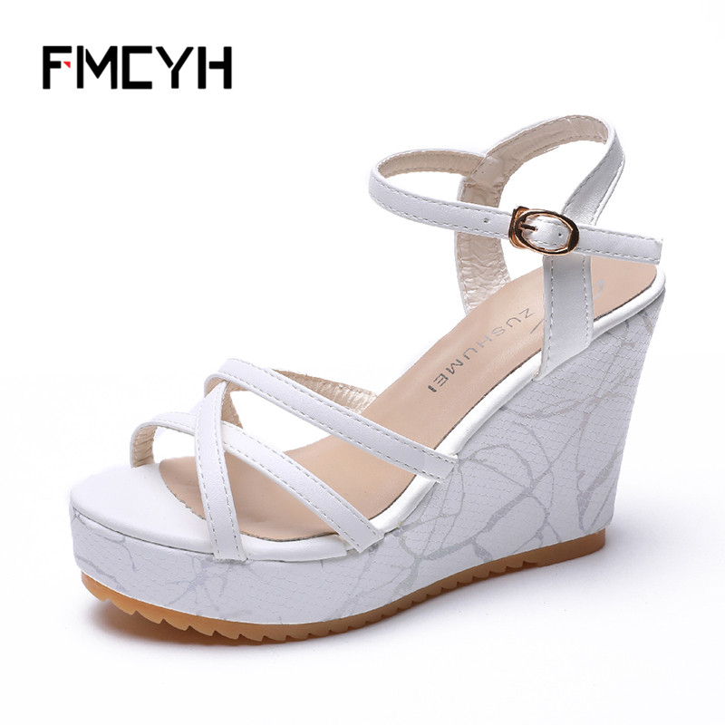 FMCYH Women Sandals Summer 2018 Platform Wedges Casual Shoes Woman High Heels Shoes Black Open Toe Outdoor Leather Ladies Sandal ladies casual platform wedges oxford shoes for women metallic pu cut outs women high heels summer brogue oxfords shoes woman