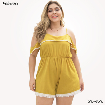 Short Rompers Women Summer 2019 New Backless Sexy Off Shoulder Ruffles Slim Waist Sling Wide Leg Playsuits Plus Size 4XL Overall