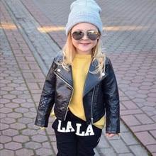 Nouveau Enfants Fille De Mode Moto PU Veste Motard En Cuir Manteau Pardessus Noir