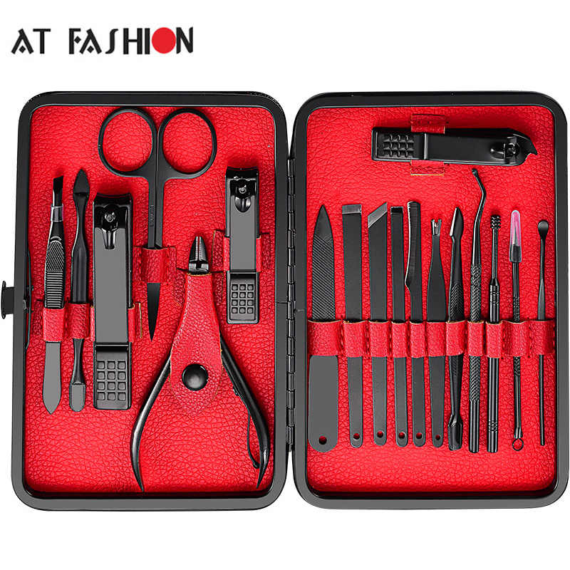 Op Mode 7-18 Pcs Rvs Pedicure Professionele Nagelknipper Set Cuticle Eagle Haak Tweezer Manicure Beauty Tools kit