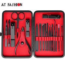 Op Fashion 18pcs Rvs Pedicure Professionele Nagelknipper Set Cuticle Eagle Haak Tweezer Manicure Beauty Tools Kit(China)
