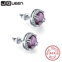 JQueen Wholesale Bridal Cut Purple Created Diamond Stud 925 Sterling Silver Earrings Charm Jewelry Free Shipping
