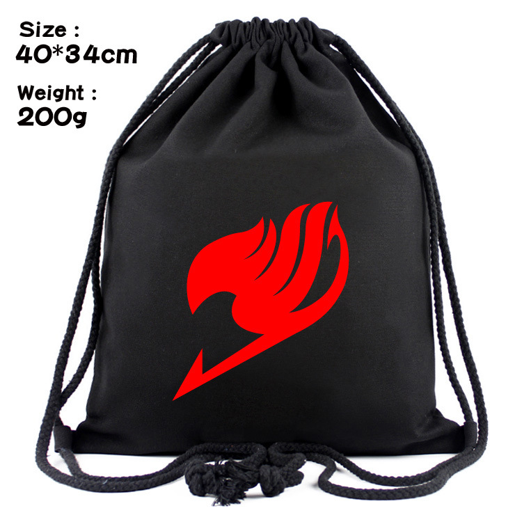 Cartoon Fairy Tail The Guild Logo Canvas Contracted Students Draw String Beam Pocket Backpack Bag
