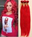 Необработанные бразильский девственные волосы 3 шт. много Sraight волна полные пучки красный цвет, 100% человеческих волос DHL бесплатная горячая распродажа