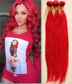 Unprocessed brazilian virgin hair 3pcs lot  Sraight wave full bundles Red color,100% human hair extensions DHL free hot sell