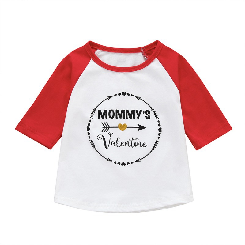 Kids T-Shirt Short-Sleeve Valentine-Print Baby-Boy Casual Cotton Top Mommy 0-4Y -'s