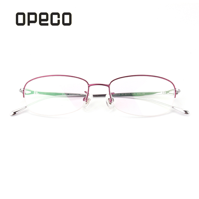 fea029106c91 Opeco Pure Titanium Optical Glasses Women's RX able Eyeglasses Frame Half  Rim Myopia Eyewear Prescription Spectacles #6625