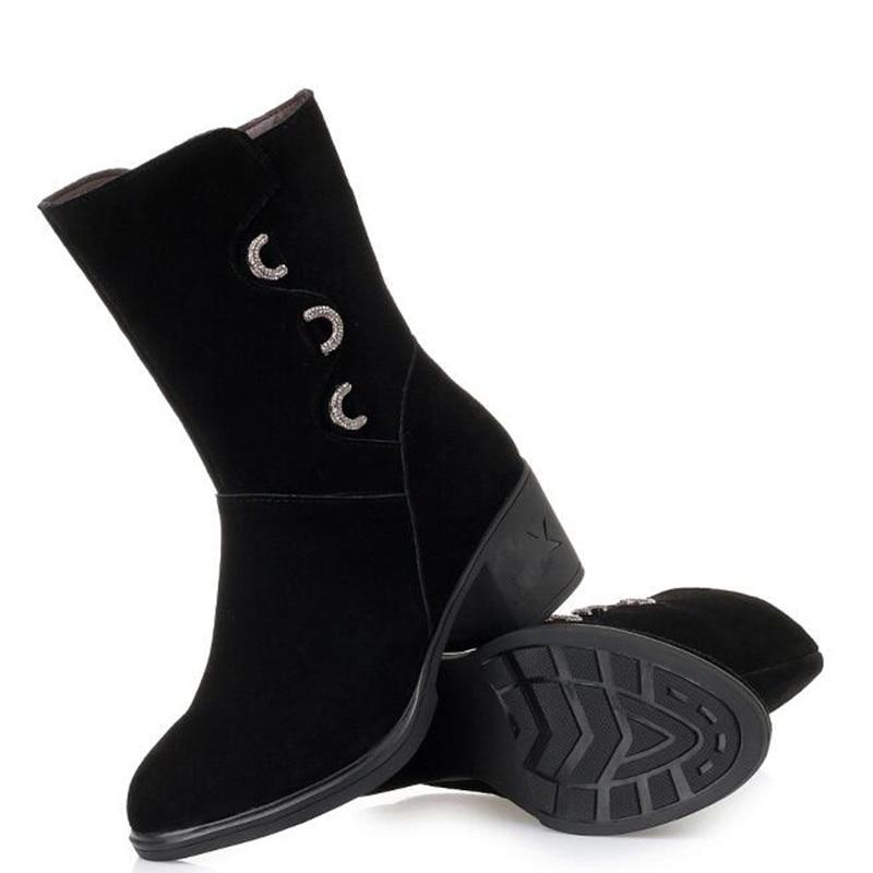 Winter Invierno La Imitación Moda single Mujer Elegante De Botas Cuero Para Caliente Boots Tacón Confort Vaca Cuadrado Boots Zapatos Nieve Martin Diamantes 2019 IHqaC5ntIw