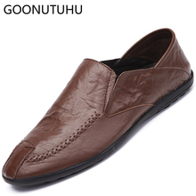 2019 new fashion men's shoes casual genuine leather loafers male solid brown coffee black slip on shoe man driving shoes for men все цены