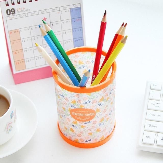 Cute Kawaii Flower Plastic Pencil Holder Creative Pen Stand For Kids Office  Materials School Supplies Free