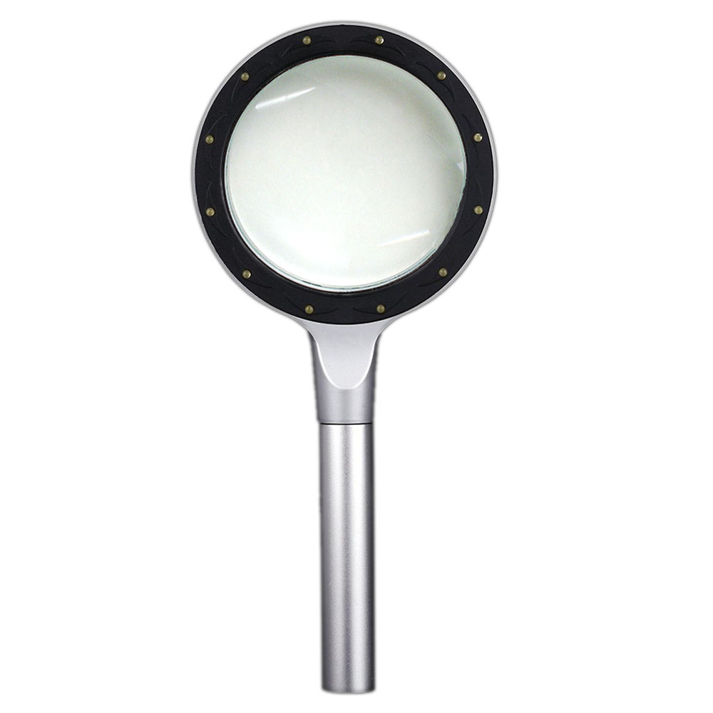 MYLB-85mm 2.5X/5X Multifunctional Magnifier Portable Handheld Glass Loupe Magnifying Tool with 12 LED Light