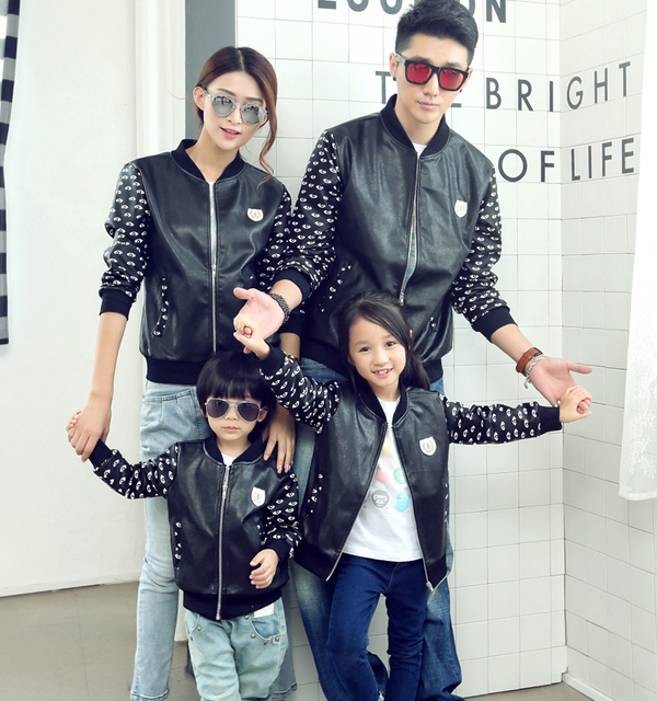 Family Set S-3XL Leather Coats Family Matching Mother Daughter Father Son Outerwear Clothes Family Clothing Parent-Child Set ML4