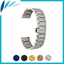 цена на Stainless Steel Watch Band 16mm 20mm 22mm for Hamilton Butterfly Buckle Strap Quick Release Wrist Belt Bracelet Black Silver