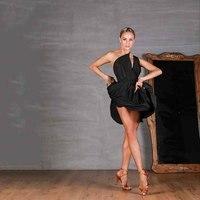 2019 Latin Dance Dress Woman Practice Dress Performance Latin Dance Skirt Black Woman Latin Dance Dresses Salsa Dress DQS1221