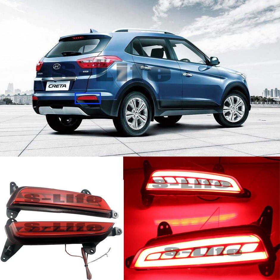 LED Red Rear Bumper Reflector Lights Brake Signal Lights For Hyundai IX25 2015-2018 50w 25 led red