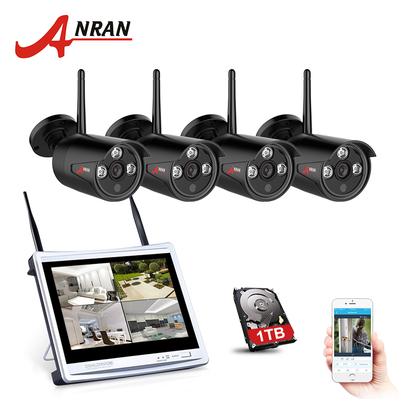 ANRAN 4CH CCTV System Wireless 720P 12 Inch NVR Security Camera System 4PCS 1MP IR Outdoor P2P Wifi IP Camera Surveillance Kit anran plug