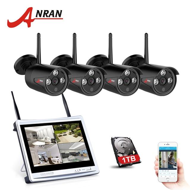 ANRAN 4CH CCTV System Wireless 720P 12 Inch NVR Security Camera System 4PCS 1MP IR Outdoor P2P Wifi IP Camera Surveillance Kit