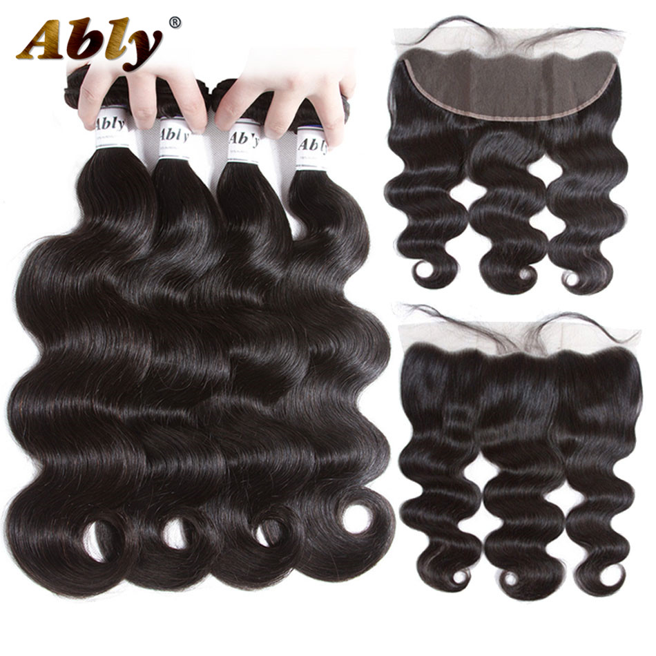 Body Wave 4 Bundles With Frontal Ably Brazilian Remy Human Hair Weft Weave Bundles Pre Plucked Lace Frontal Closure With Bundles