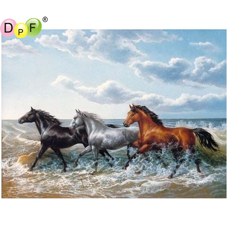 DPF DIY The sea horse 5D crafts diamond painting cross stitch needlework diamond mosaic kit square home decor diamond embroidery