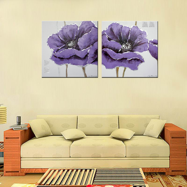 Combined 2 Pcs/set New Purple Flower Wall Art Painting On Canvas ...